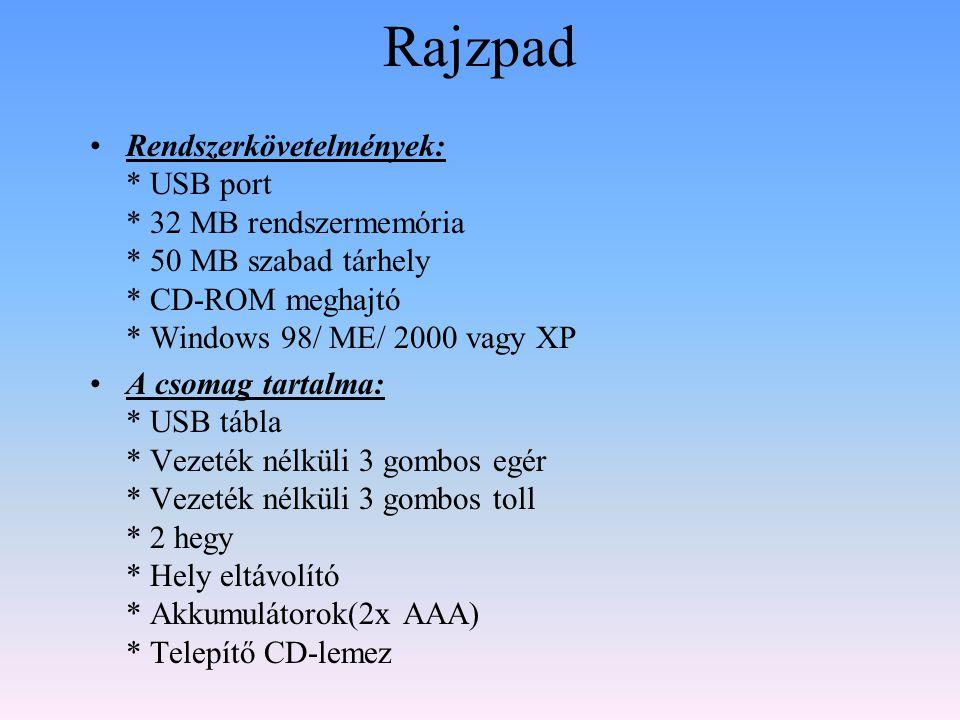 Rajzpad •Rendszerkövetelmények: * USB port * 32 MB rendszermemória * 50 MB szabad tárhely * CD-ROM meghajtó * Windows 98/ ME/ 2000 vagy XP •A csomag t