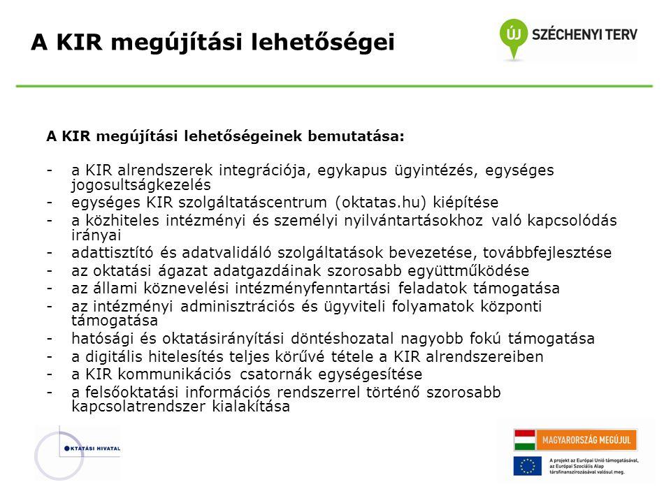 """A KIR alrendszerek integrációja, egykapus ügyintézés, egységes jogosultságkezelés: -valamennyi alrendszerhez egy portálon keresztül lehessen eljutni -egyetlen felhasználói név és jelszó páros a kulcs minden szolgáltatáshoz -állampolgári, intézményi és államigazgatási szintű jogosultságok kialakítása -egységes jogosultsági rendszer monitorozó felület létrehozása -egységes üzemeltetési és adminisztrációs felületek kialakítása -új arculat, """"szerethető KIR terjesztése A KIR megújítási lehetőségei"""