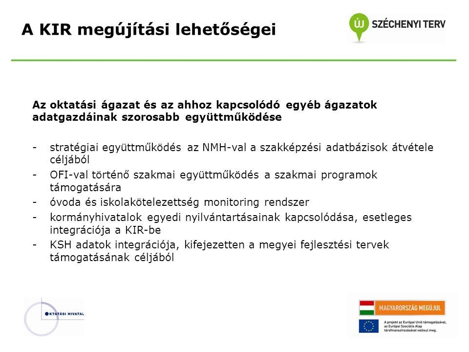 Az állami köznevelési intézményfenntartási feladatok támogatása: -a Klebelsberg Intézményfenntartó Központ fenntartói feladatainak támogatása -strukturált fenntartói jogosultságok implementálása -egyedi, csak a KIK-re alkalmazott eljárások, reportok beépítése -közhiteles KIK intézményi nyilvántartás vezetése – megfelelés a közhitelesség elvárásainak A KIR megújítási lehetőségei