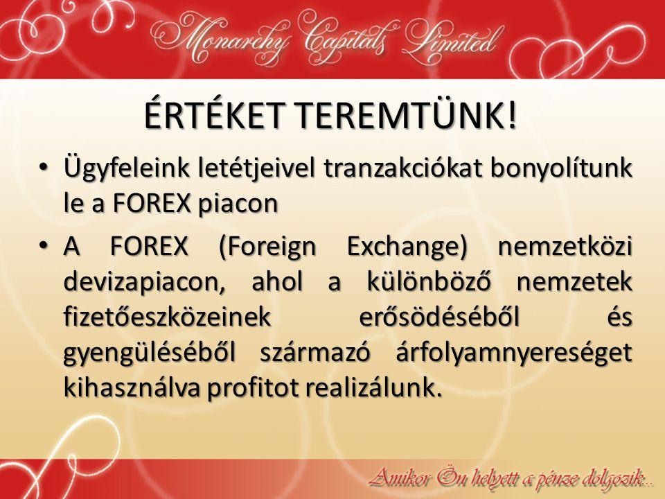 ÉRTÉKET TEREMTÜNK! • Ügyfeleink letétjeivel tranzakciókat bonyolítunk le a FOREX piacon • A FOREX (Foreign Exchange) nemzetközi devizapiacon, ahol a k