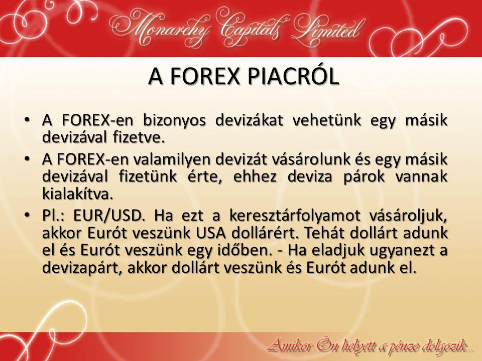 A FOREX PIACRÓL • A FOREX-en bizonyos devizákat vehetünk egy másik devizával fizetve. • A FOREX-en valamilyen devizát vásárolunk és egy másik devizáva