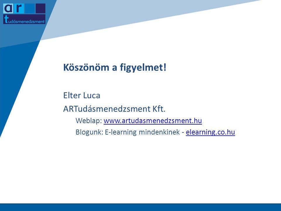Köszönöm a figyelmet! Elter Luca ARTudásmenedzsment Kft. Weblap: www.artudasmenedzsment.huwww.artudasmenedzsment.hu Blogunk: E-learning mindenkinek -