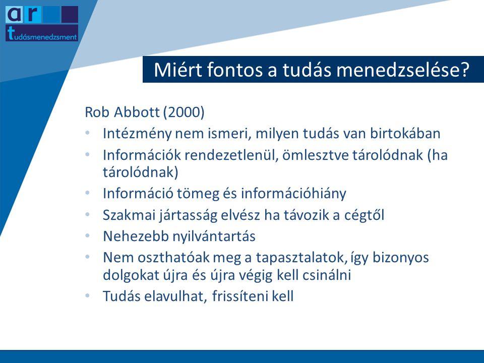 Miért fontos a tudás menedzselése? Rob Abbott (2000) • Intézmény nem ismeri, milyen tudás van birtokában • Információk rendezetlenül, ömlesztve tároló
