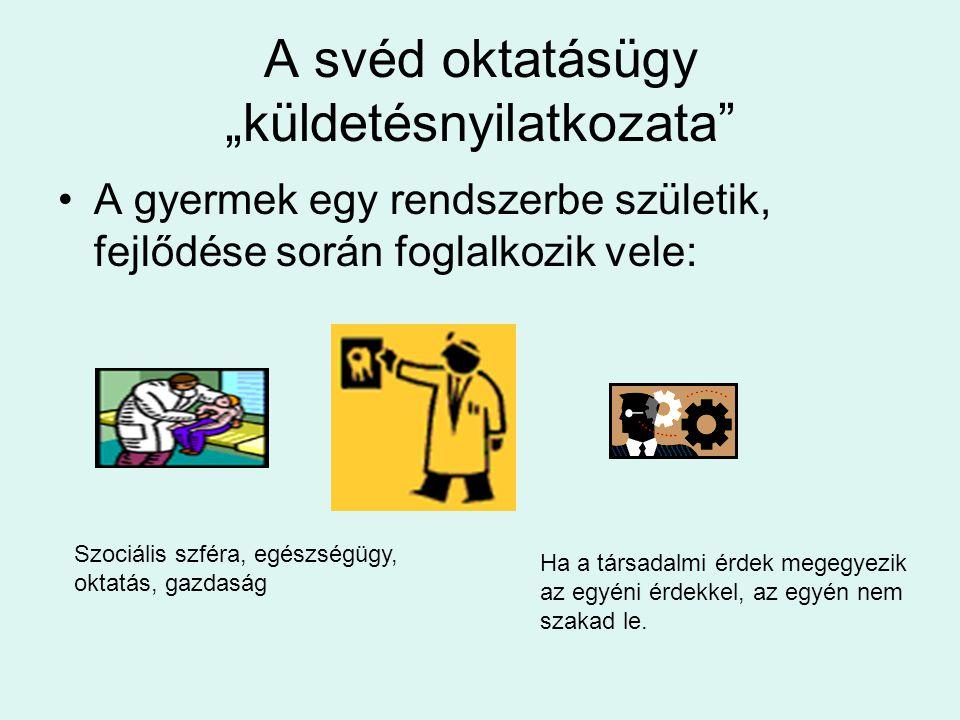 """A svéd oktatásügy """"küldetésnyilatkozata •A gyermek egy rendszerbe születik, fejlődése során foglalkozik vele: Szociális szféra, egészségügy, oktatás, gazdaság Ha a társadalmi érdek megegyezik az egyéni érdekkel, az egyén nem szakad le."""