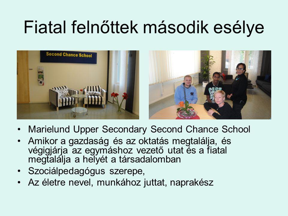 Fiatal felnőttek második esélye •Marielund Upper Secondary Second Chance School •Amikor a gazdaság és az oktatás megtalálja, és végigjárja az egymáshoz vezető utat és a fiatal megtalálja a helyét a társadalomban •Szociálpedagógus szerepe, •Az életre nevel, munkához juttat, naprakész