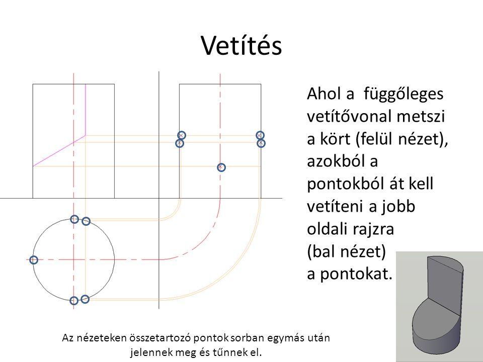Vetítés Ahol a függőleges vetítővonal metszi a kört (felül nézet), azokból a pontokból át kell vetíteni a jobb oldali rajzra (bal nézet) a pontokat.