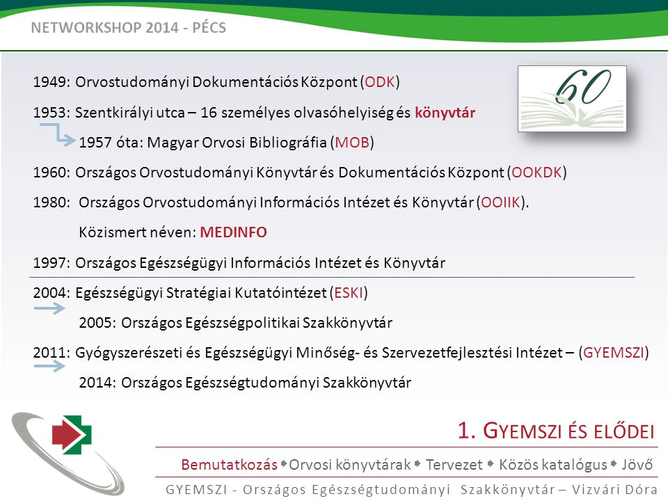 NETWORKSHOP 2014 - PÉCS GYEMSZI - Országos Egészségtudományi Szakkönyvtár – Vizvári Dóra 1.
