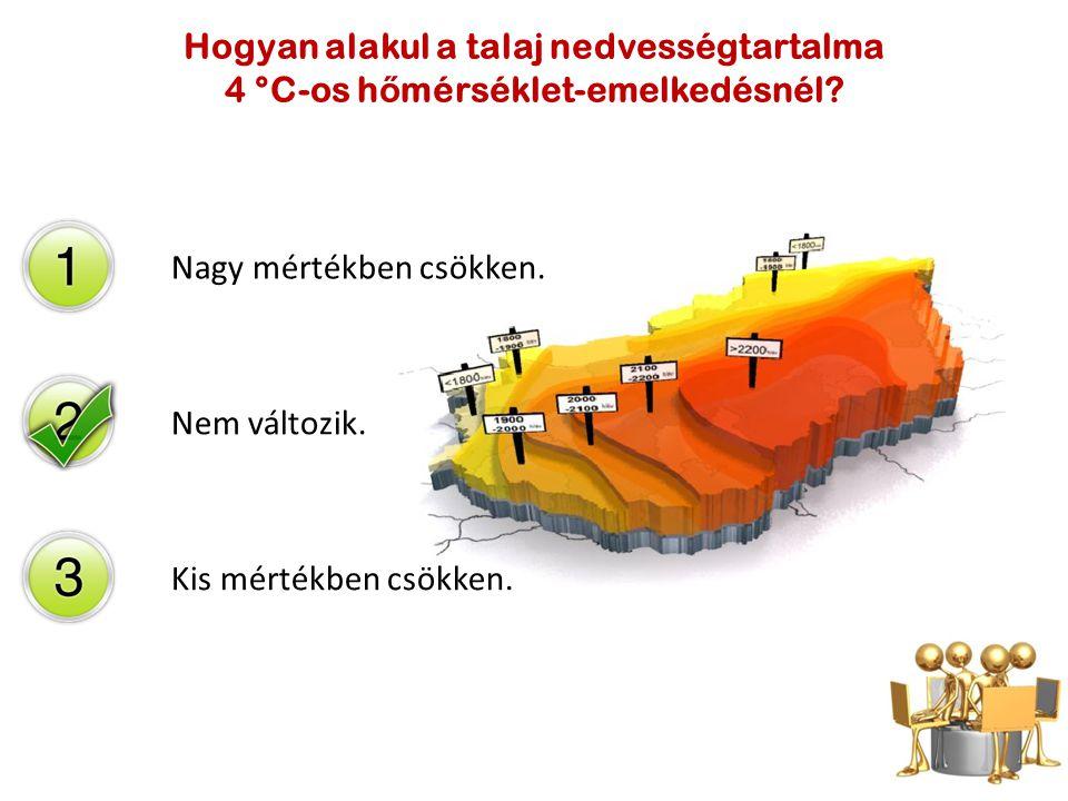 Nagy mértékben csökken. Nem változik. Kis mértékben csökken. Hogyan alakul a talaj nedvességtartalma 4 °C-os h ő mérséklet-emelkedésnél?