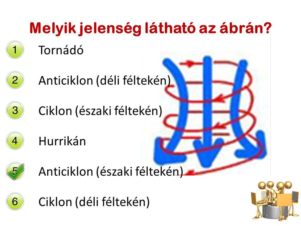 Melyik jelenség látható az ábrán? Tornádó Anticiklon (déli féltekén) Ciklon (északi féltekén) Hurrikán Anticiklon (északi féltekén) Ciklon (déli félte