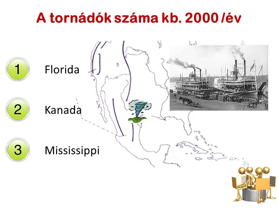 Florida Kanada Mississippi A tornádók száma kb. 2000 /év