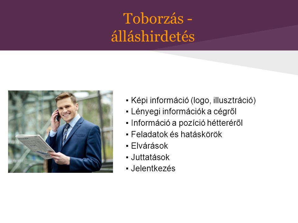 Toborzás - álláshirdetés ▪ Képi információ (logo, illusztráció) ▪ Lényegi információk a cégről ▪ Információ a pozíció hétteréről ▪ Feladatok és hatásk