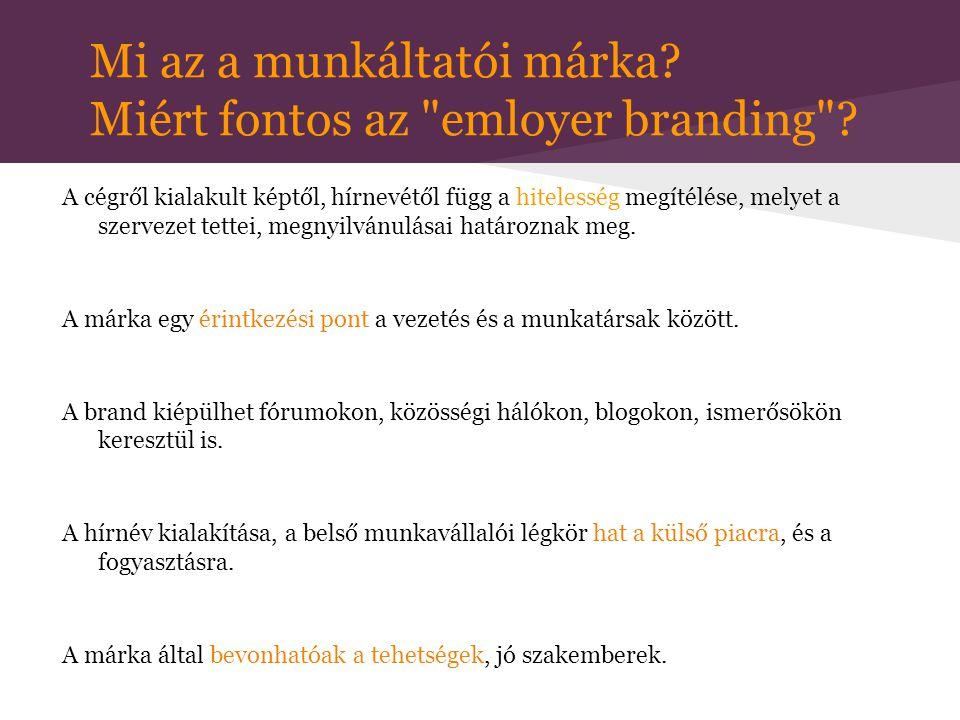 Munkáltatói Márka vállalati kultúra vállalati kommunikáció : (Esélyegyenlőségi Terv, cikkek, szlogenek...) PR és marketing elemek suttogó propaganda a vállalatról: (szóbeszéd, közösségi média, fórumok, ajánlások)stratégia álláshirdetések termékek-szolgáltatások stabilitás társadalmi felelősségvállalás (CSR, WLB) vállalat hitelességének megítélése menedzsment gondolkodás módja menedzsment és munkavállalók viszonya