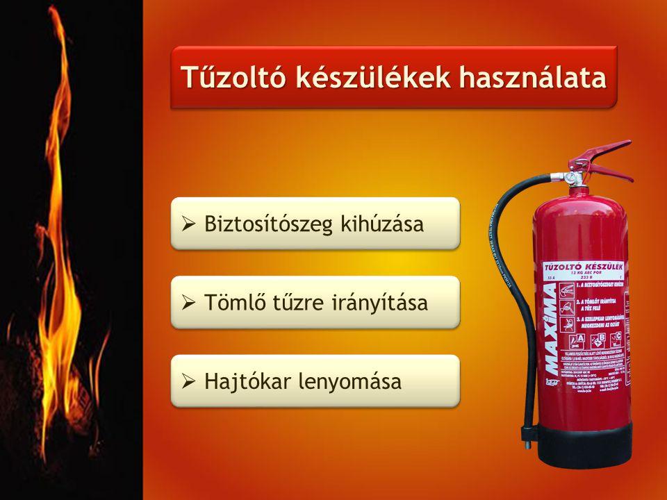 Tűzoltó készülékek használata  Biztosítószeg kihúzása  Tömlő tűzre irányítása  Hajtókar lenyomása