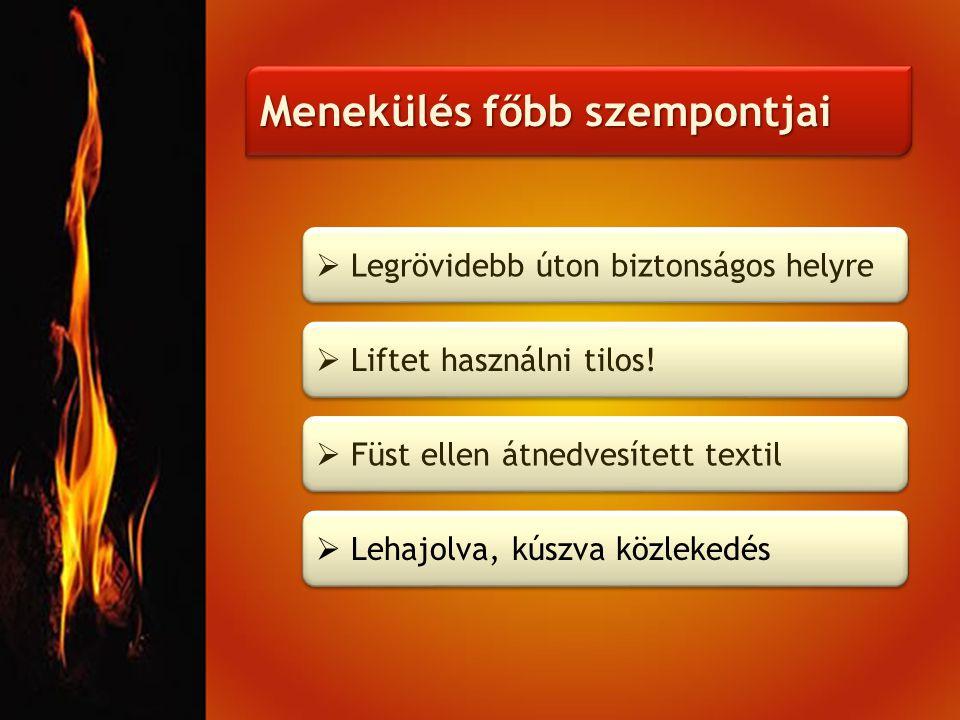 Menekülés főbb szempontjai  Liftet használni tilos!  Füst ellen átnedvesített textil  Lehajolva, kúszva közlekedés  Legrövidebb úton biztonságos h
