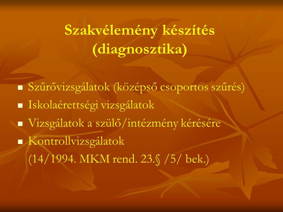 Szakvélemény készítés (diagnosztika)   Szűrővizsgálatok (középső csoportos szűrés)   Iskolaérettségi vizsgálatok   Vizsgálatok a szülő/intézmény kérésére   Kontrollvizsgálatok (14/1994.