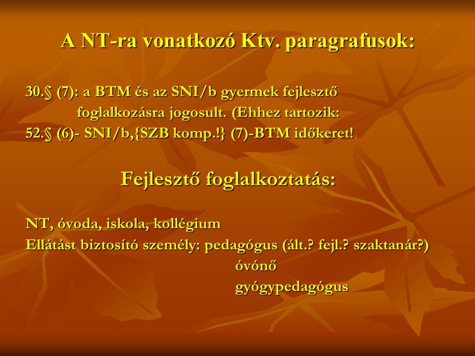 A NT-ra vonatkozó Ktv.