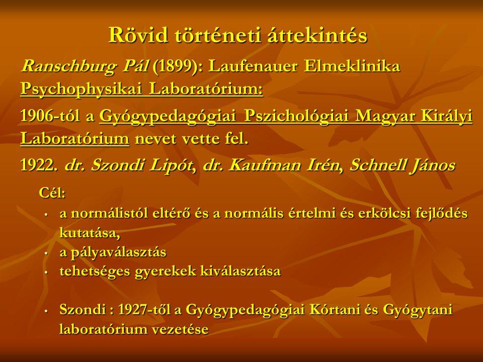 Rövid történeti áttekintés Ranschburg Pál (1899): Laufenauer Elmeklinika Psychophysikai Laboratórium: 1906-tól a Gyógypedagógiai Pszichológiai Magyar Királyi Laboratórium nevet vette fel.
