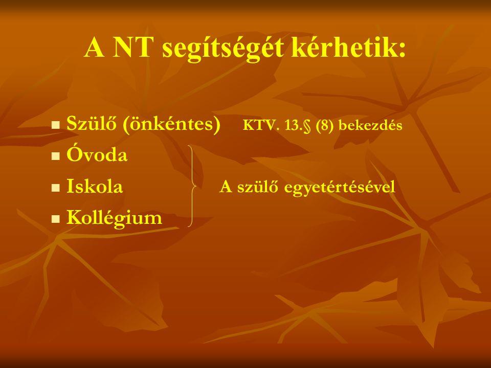 A NT segítségét kérhetik:   Szülő (önkéntes) KTV.