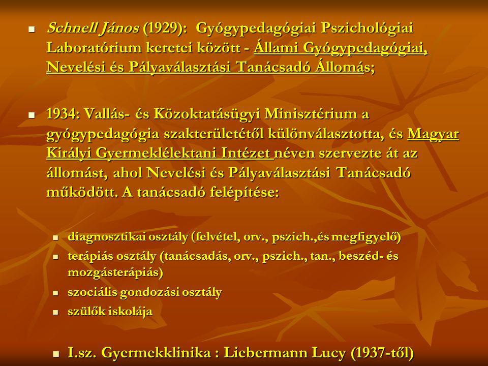  Schnell János (1929): Gyógypedagógiai Pszichológiai Laboratórium keretei között - Állami Gyógypedagógiai, Nevelési és Pályaválasztási Tanácsadó Állomás;  1934: Vallás- és Közoktatásügyi Minisztérium a gyógypedagógia szakterületétől különválasztotta, és Magyar Királyi Gyermeklélektani Intézet néven szervezte át az állomást, ahol Nevelési és Pályaválasztási Tanácsadó működött.