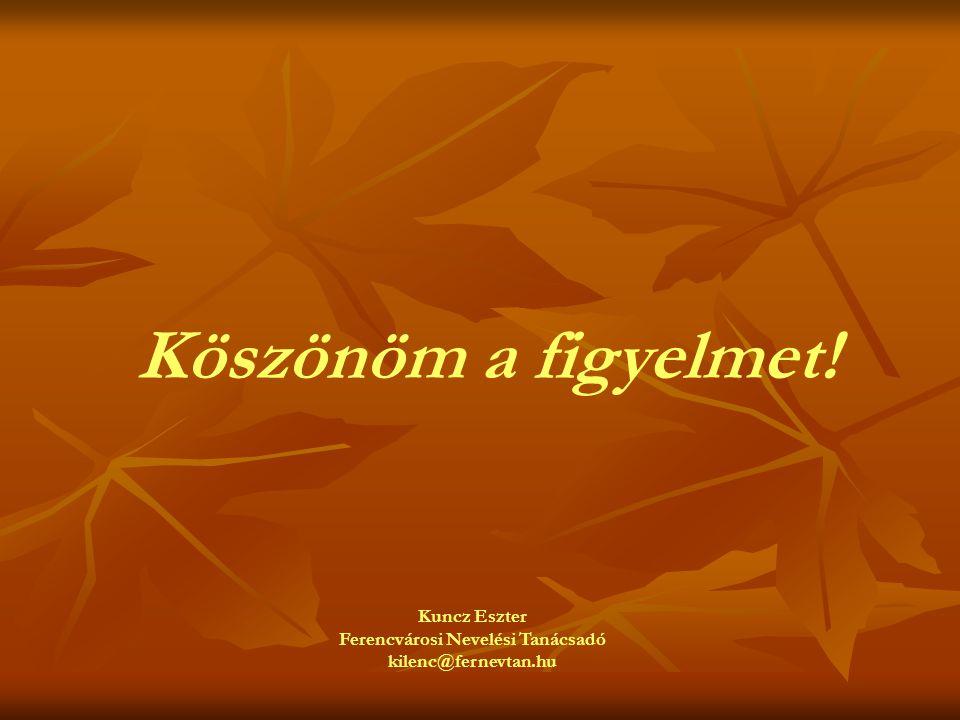 Köszönöm a figyelmet! Kuncz Eszter Ferencvárosi Nevelési Tanácsadó kilenc@fernevtan.hu