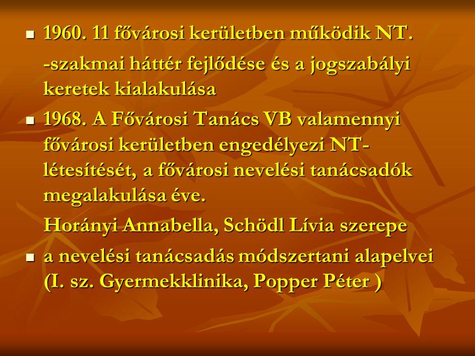  1960.11 fővárosi kerületben működik NT.
