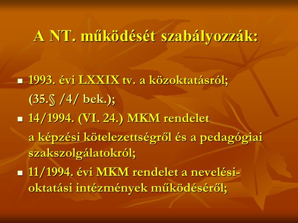 A NT.működését szabályozzák:  1993. évi LXXIX tv.