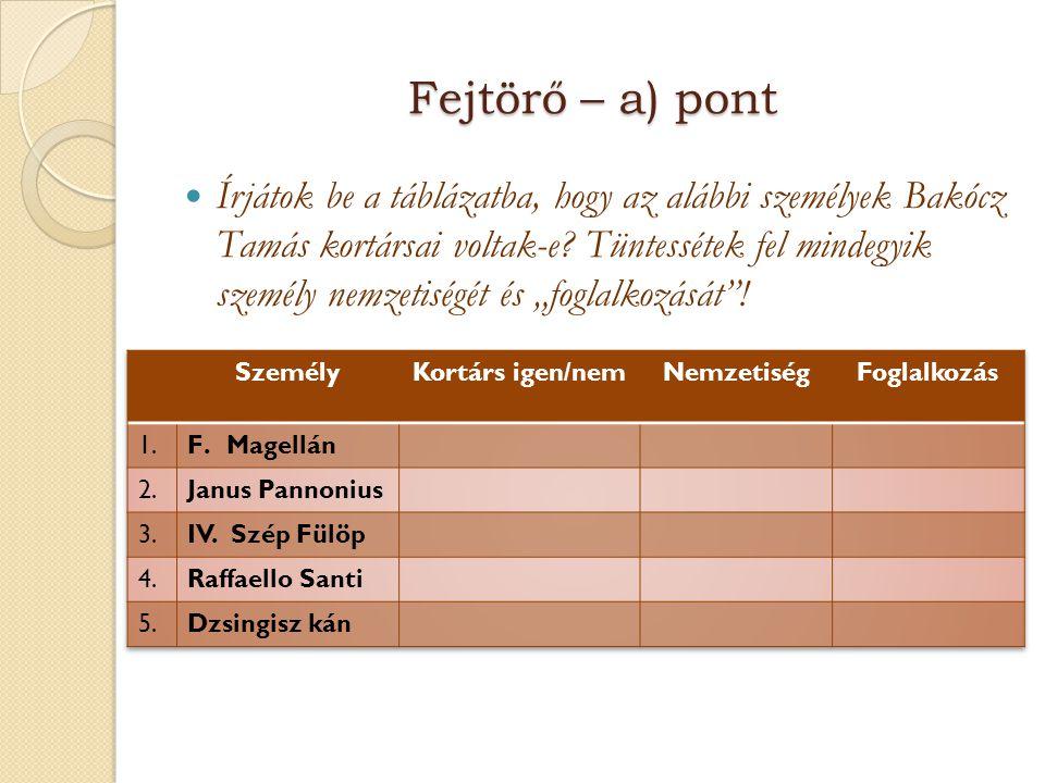 Fejtörő – a) pont  Írjátok be a táblázatba, hogy az alábbi személyek Bakócz Tamás kortársai voltak-e? Tüntessétek fel mindegyik személy nemzetiségét
