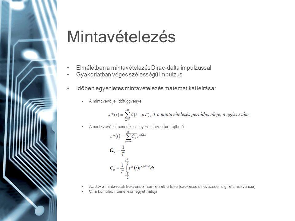 Mintavételezés • Elméletben a mintavételezés Dirac-delta impulzussal • Gyakorlatban véges szélességű impulzus • Időben egyenletes mintavételezés matem