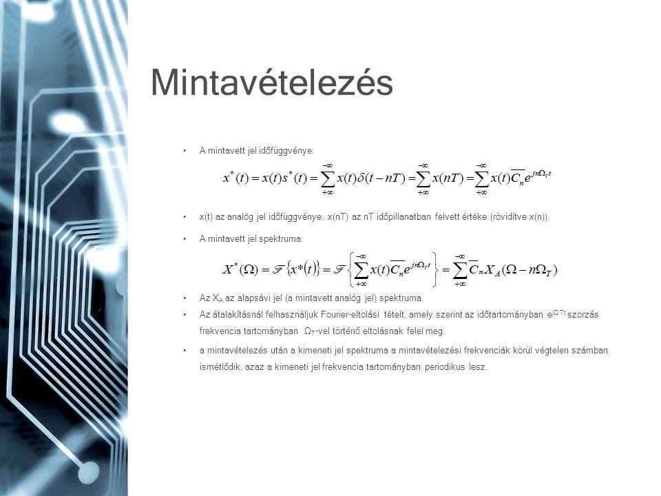 Mintavételezés • A mintavett jel időfüggvénye: • x(t) az analóg jel időfüggvénye, x(nT) az nT időpillanatban felvett értéke (rövidítve x(n)). • A mint