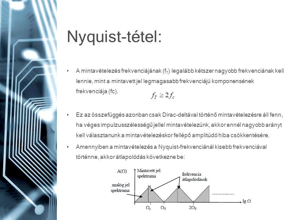 Nyquist-tétel: • A mintavételezés frekvenciájának (f T ) legalább kétszer nagyobb frekvenciának kell lennie, mint a mintavett jel legmagasabb frekvenc