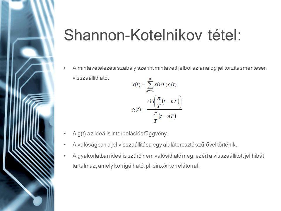 Shannon-Kotelnikov tétel: • A mintavételezési szabály szerint mintavett jelből az analóg jel torzításmentesen visszaállítható. • A g(t) az ideális int