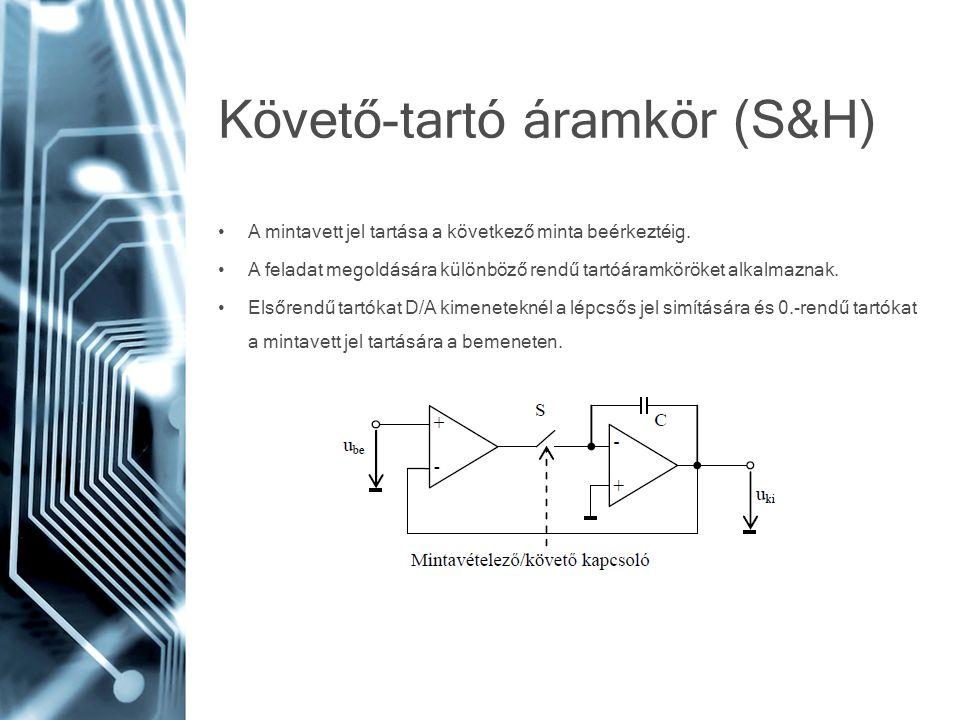 Követő-tartó áramkör (S&H) • A mintavett jel tartása a következő minta beérkeztéig. • A feladat megoldására különböző rendű tartóáramköröket alkalmazn