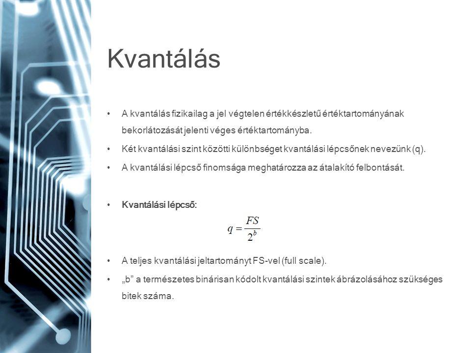 Kvantálás • A kvantálás fizikailag a jel végtelen értékkészletű értéktartományának bekorlátozását jelenti véges értéktartományba. • Két kvantálási szi