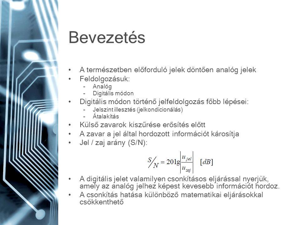 Bevezetés •A természetben előforduló jelek döntően analóg jelek •Feldolgozásuk: –Analóg –Digitális módon •Digitális módon történő jelfeldolgozás főbb