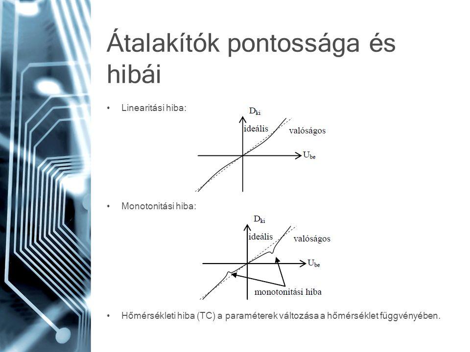 Átalakítók pontossága és hibái • Linearitási hiba: • Monotonitási hiba: • Hőmérsékleti hiba (TC) a paraméterek változása a hőmérséklet függvényében.