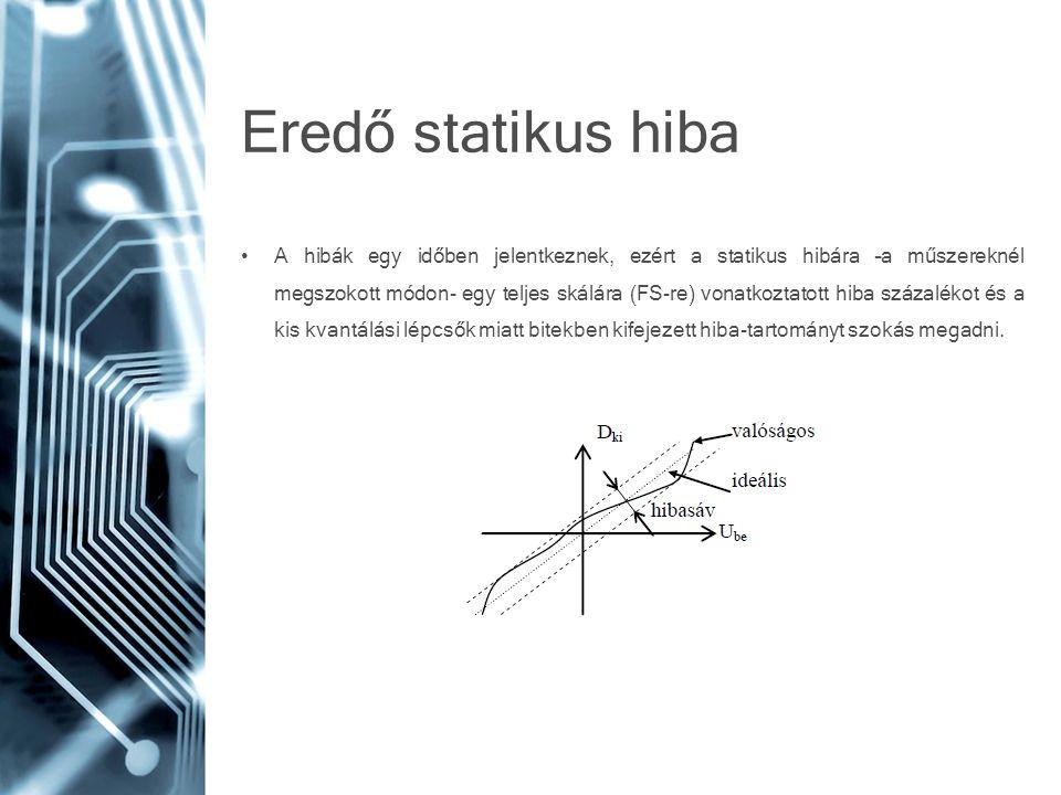 Eredő statikus hiba • A hibák egy időben jelentkeznek, ezért a statikus hibára –a műszereknél megszokott módon- egy teljes skálára (FS-re) vonatkoztat