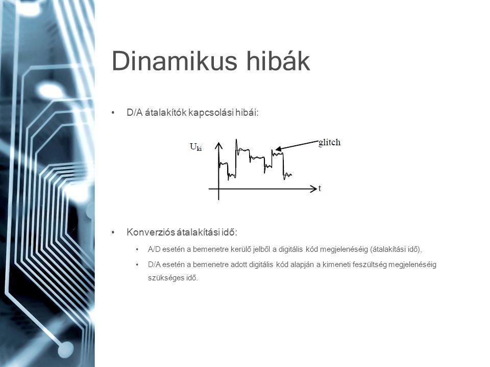 Dinamikus hibák • D/A átalakítók kapcsolási hibái: • Konverziós átalakítási idő: • A/D esetén a bemenetre kerülő jelből a digitális kód megjelenéséig