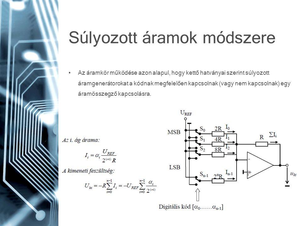 Súlyozott áramok módszere • Az áramkör működése azon alapul, hogy kettő hatványai szerint súlyozott áramgenerátorokat a kódnak megfelelően kapcsolnak