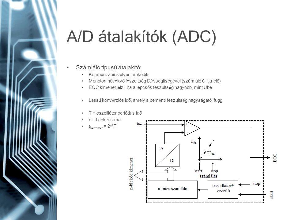 A/D átalakítók (ADC) • Számláló típusú átalakító: • Kompenzációs elven működik • Monoton növekvő feszültség D/A segítségével (számláló állítja elő) •