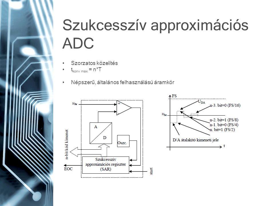 Szukcesszív approximációs ADC • Szorzatos közelítés • t konv max = n*T • Népszerű, általános felhasználású áramkör