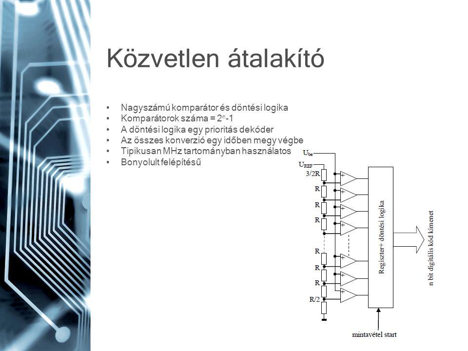 Közvetlen átalakító • Nagyszámú komparátor és döntési logika • Komparátorok száma = 2 n -1 • A döntési logika egy prioritás dekóder • Az összes konver