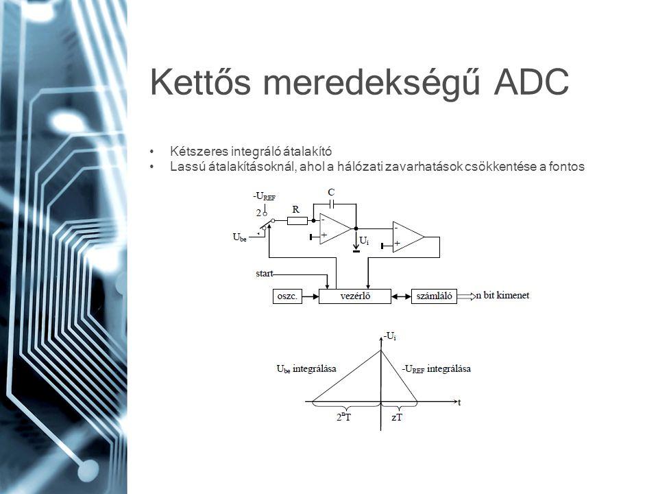 Kettős meredekségű ADC • Kétszeres integráló átalakító • Lassú átalakításoknál, ahol a hálózati zavarhatások csökkentése a fontos