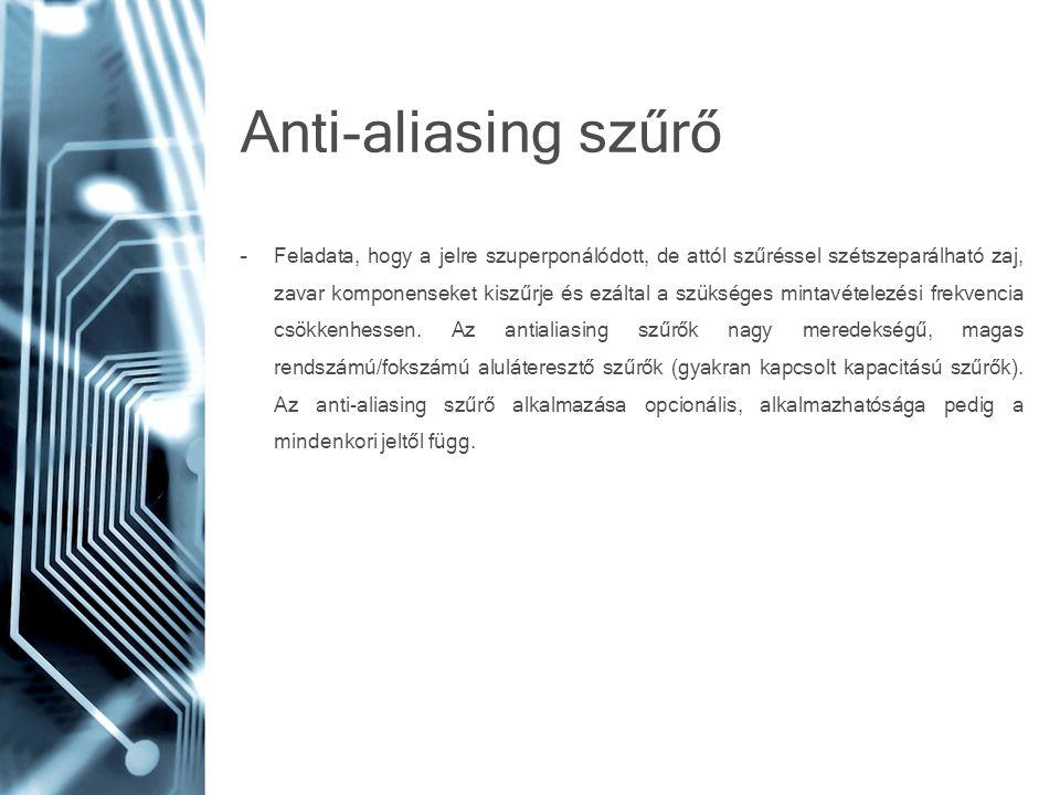 Anti-aliasing szűrő –Feladata, hogy a jelre szuperponálódott, de attól szűréssel szétszeparálható zaj, zavar komponenseket kiszűrje és ezáltal a szüks