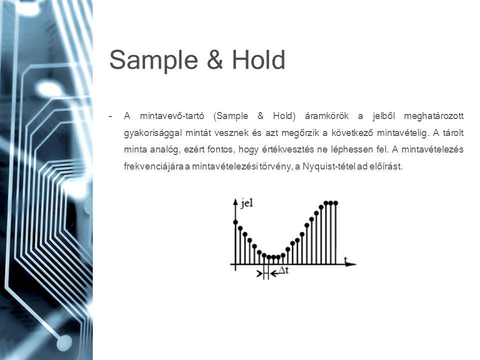 Sample & Hold –A mintavevő-tartó (Sample & Hold) áramkörök a jelből meghatározott gyakorisággal mintát vesznek és azt megőrzik a következő mintavételi