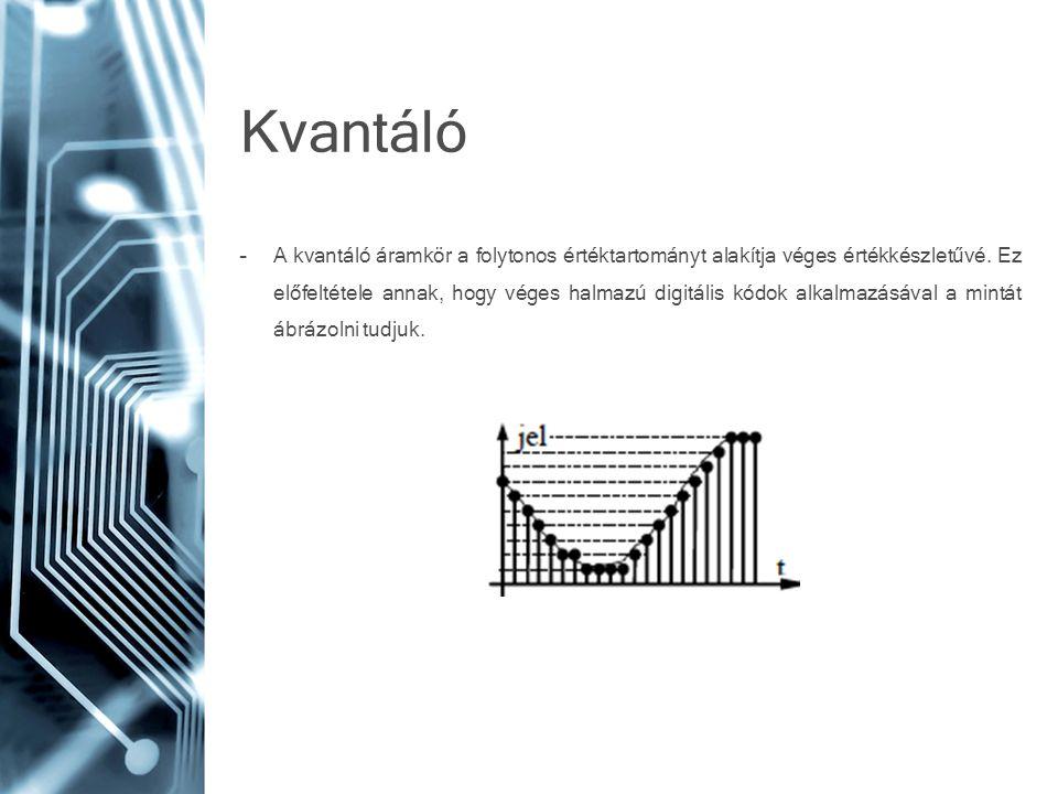 Kvantáló –A kvantáló áramkör a folytonos értéktartományt alakítja véges értékkészletűvé. Ez előfeltétele annak, hogy véges halmazú digitális kódok alk