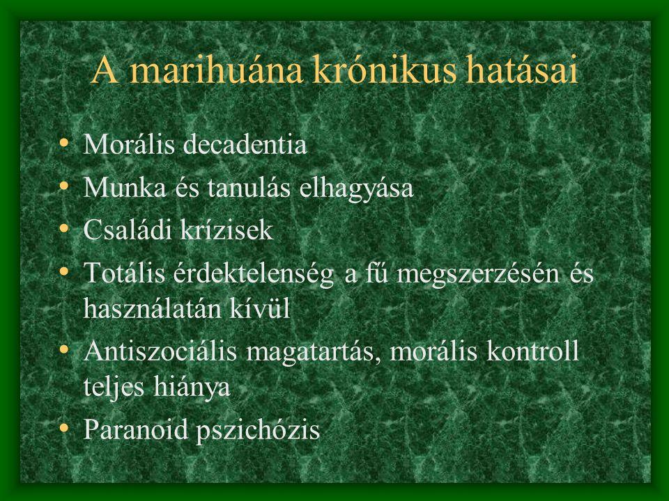A marihuána hatásai • Tartós használata az opiát receptorokat hozza izgalomba • Fizikai függőséget okoz • Kapudrog • Érdektelenné tesz • Tompa nyugalom, kvázi fájdalom és gondmentesség, amoralitás, agresszió • Megváltoztatja a személyiséget