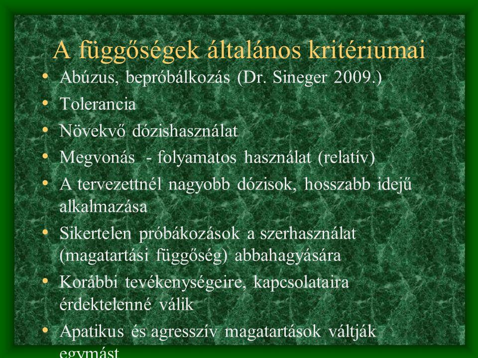 A függőségek általános kritériumai • Abúzus, bepróbálkozás (Dr.