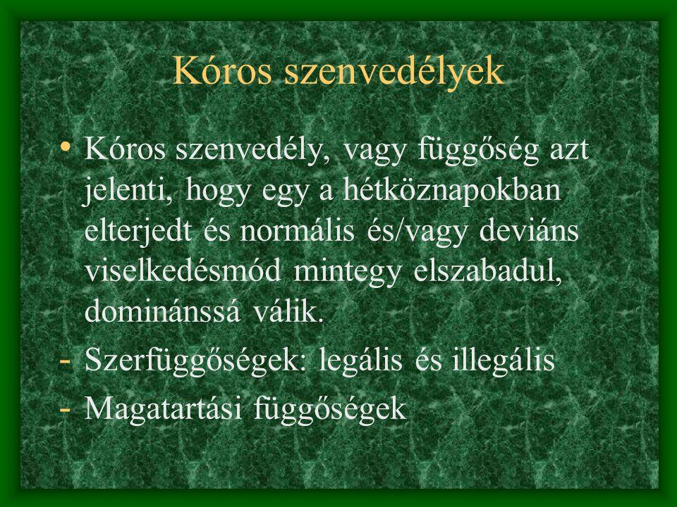 Illegális szerfüggőségek • A WHO definiciója szerint drog minden olyan természetes vagy szintetikus kémiai anyag, amely pszichoactív tulajdonságokkal rendelkezik, a központi idegrendszer működését alterálja, megváltoztatja a normális mentális és pszichés státust, az érzelmi reakciót, a hangulatot, tudatot, viselkedést, megállítja a személyiségfejlődést (kábulat, mámor, agresszió, érdektelenség, paranoid állapot)
