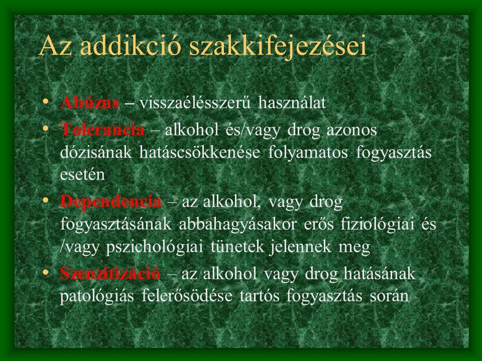 Az addikció szakkifejezései • Abúzus – visszaélésszerű használat • Tolerancia – alkohol és/vagy drog azonos dózisának hatáscsökkenése folyamatos fogyasztás esetén • Dependencia – az alkohol, vagy drog fogyasztásának abbahagyásakor erős fiziológiai és /vagy pszichológiai tünetek jelennek meg • Szenzitizáció – az alkohol vagy drog hatásának patológiás felerősödése tartós fogyasztás során