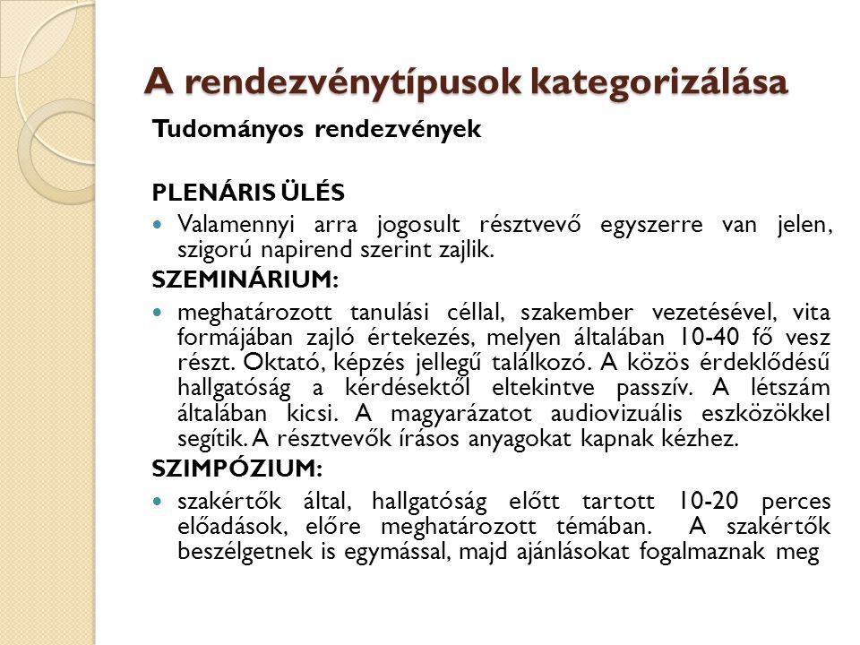 A rendezvénytípusok kategorizálása Tudományos rendezvények PLENÁRIS ÜLÉS  Valamennyi arra jogosult résztvevő egyszerre van jelen, szigorú napirend sz